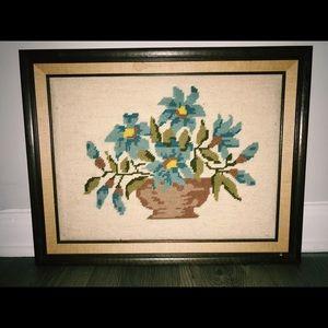 Floral Cross Stitch Vintage wall art
